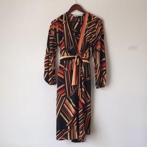 ZARA Midi wrap dress, striped, 70s look